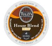 Tully's House Blend Decaf. Coffee Keurig K-Cup Portion Pack