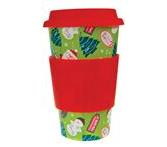 Eco Cup Sleeved Porcelain Cup with Lid - Holiday Edition - Santa/OR/Red/Green Diamonds